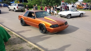 A second cool fox body mustang with serious drag race rubber under the back.