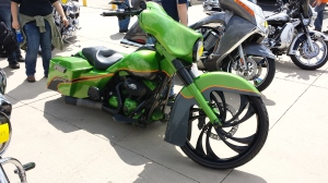 "This is a ""custom"" Bagger. It has a larger front tire and the rear is lower than a ""normal"" bagger. See the hard bags on the rear. Also it has a large front faring."