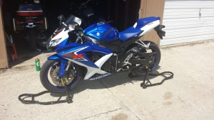 Supersport (what I call a crotch rocket almost exclusively) 2008 GSXR 600. notice the fairing and clip on handle bars.