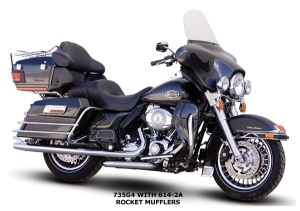 Traditional touring bike/bagger. This is basically factory stock. Notice the smaller front tire. This bike also has more distance between the bags and the ground. http://paughco.com/2008-catalog/indivpages/Images/735G4_twin_cam_touring_headpipes_onbike_right_side.jpg