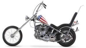 "Classic Chopper. Notice angle and distance between the bottom of the engine and the ground. Also note the large ""ape-hanger"" handle bars."